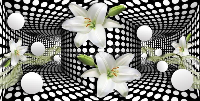 papel de parede 3d, lírios de calla brancos e esfera no fundo das ilusões óticas ilustração do vetor