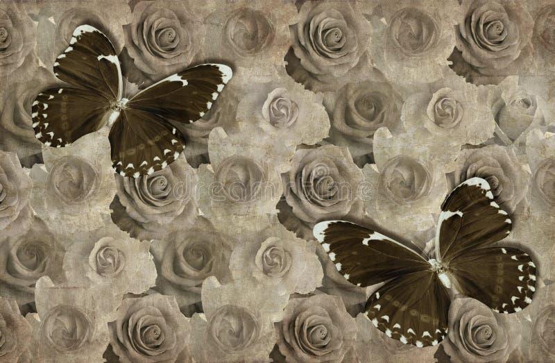 papel de parede 3d, rosas e borboletas, textura de papel velha do fundo foto de stock