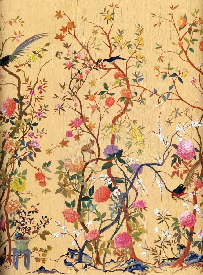 Papel de parede da arte das flores e dos pássaros ilustração royalty free