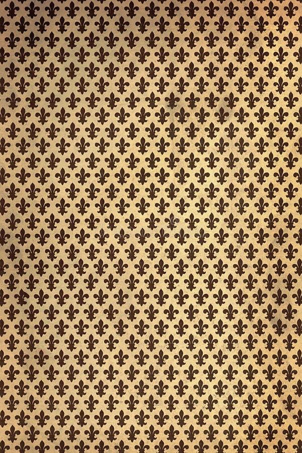 Papel de parede da flor de lis do vintage foto de stock