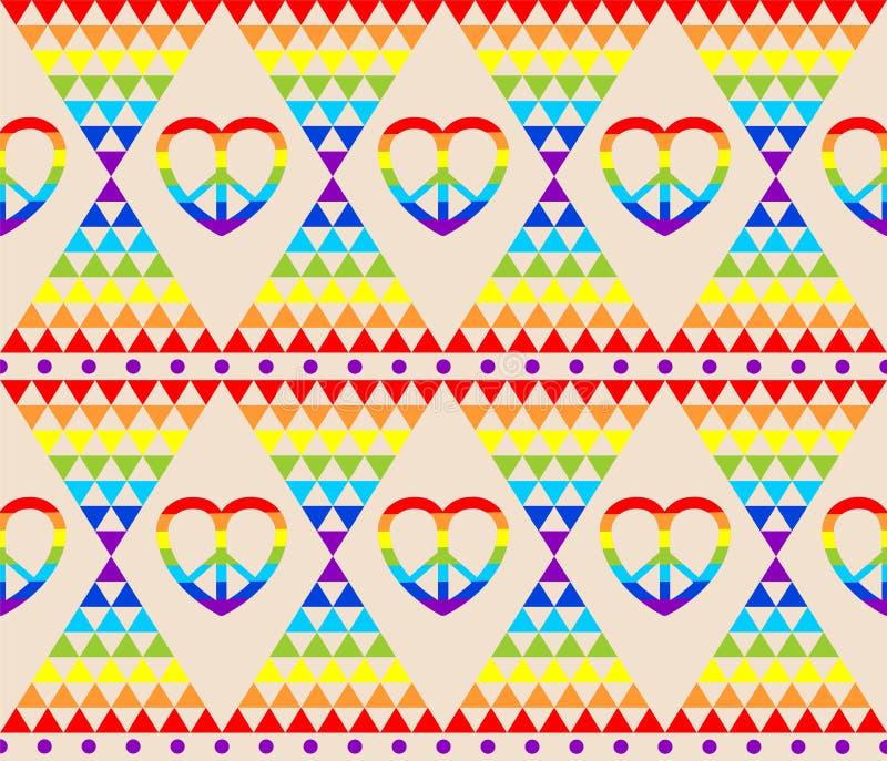 Papel de parede da hippie do vintage com arco-íris, símbolo da hippie, teste padrão colorido do triângulo abstrato psicadélico ilustração stock