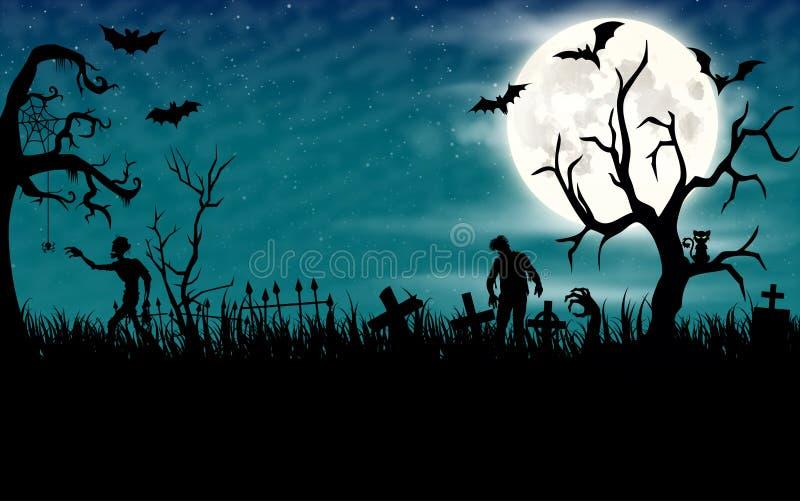 Papel de parede da noite de Dia das Bruxas com zombis e Lua cheia ilustração royalty free