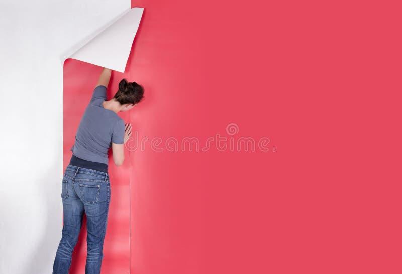 Papel de parede de suspensão da mulher imagens de stock