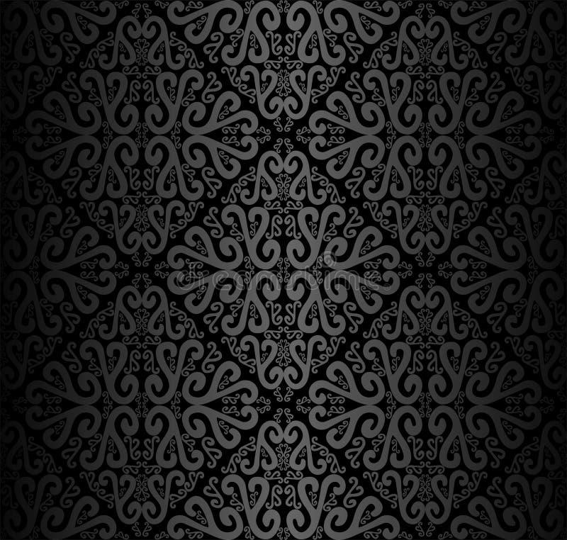 Papel de parede decorativo preto sem emenda com redemoinhos ilustração do vetor