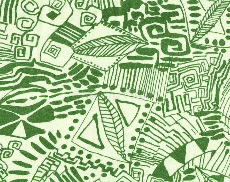 Papel de parede desenhado no verde no bege. fotografia de stock royalty free