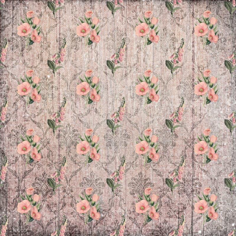Papel de parede desvanecido gasto do ornamento floral do vintage velho ilustração stock