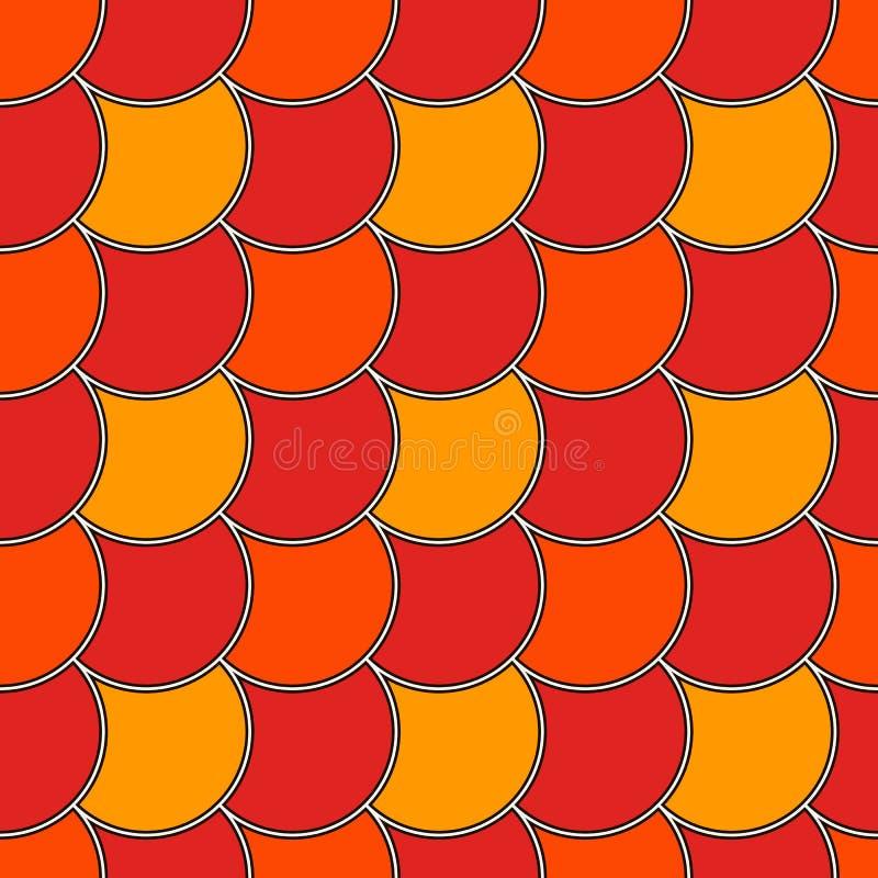 Papel de parede diagonal da escala de peixes da cor azul Ornamento tradicional asiático com vieiras repetidas Teste padrão sem em ilustração stock