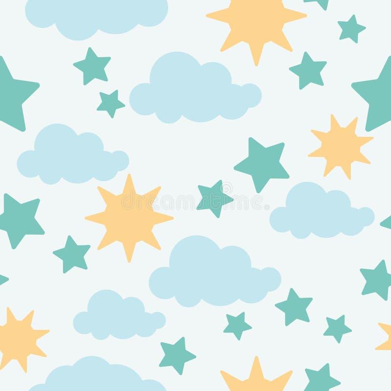 Papel de parede do bebê - teste padrão sem emenda das nuvens, das estrelas e do sol Vect ilustração stock