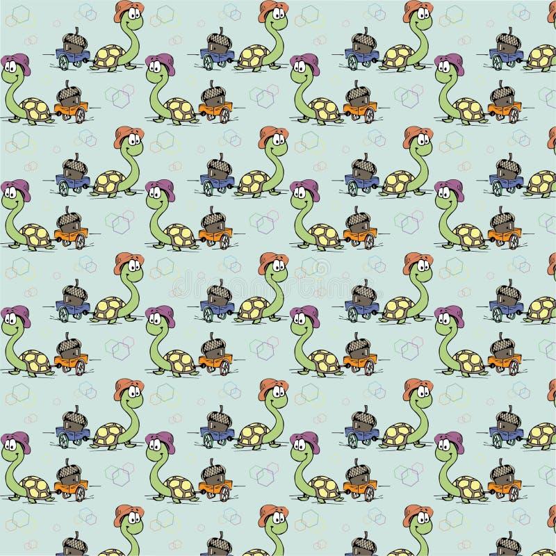 Papel de parede do caráter de Cartoony do bebê da tartaruga imagem de stock royalty free