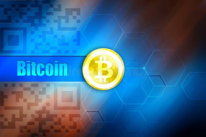 Papel de parede do cryptocurrency de Bitcoin Símbolo na moeda de ouro, ` de Bitcoin do bitcoin do ` do título no fundo azul ilustração stock