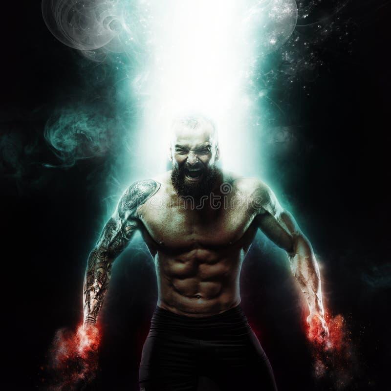 Papel de parede do esporte e da motivação no fundo escuro Halterofilista atlético do indivíduo do poder Fogo e energia fotografia de stock
