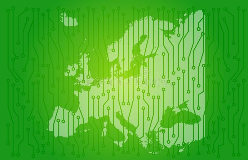 Papel de parede do fundo do conceito da placa de circuito do mapa de Europa fotos de stock