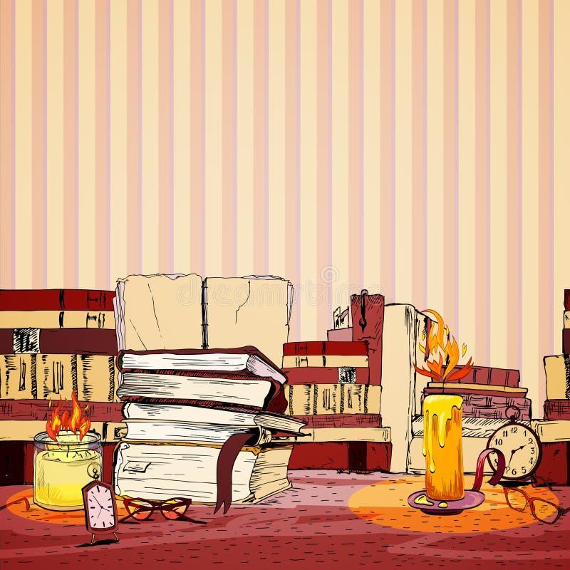 Papel de parede do livro da vela ilustração royalty free