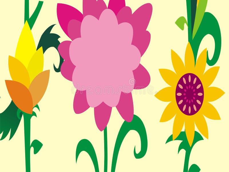 Papel de parede do vetor dos desenhos animados das flores da temporada de verão imagem de stock royalty free