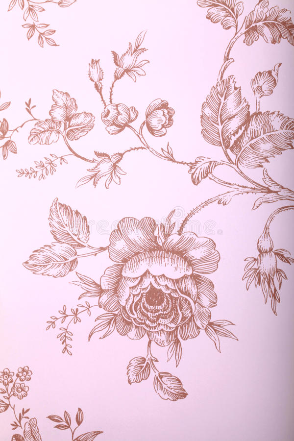 Papel de parede do vintage com teste padrão floral marrom imagem de stock royalty free