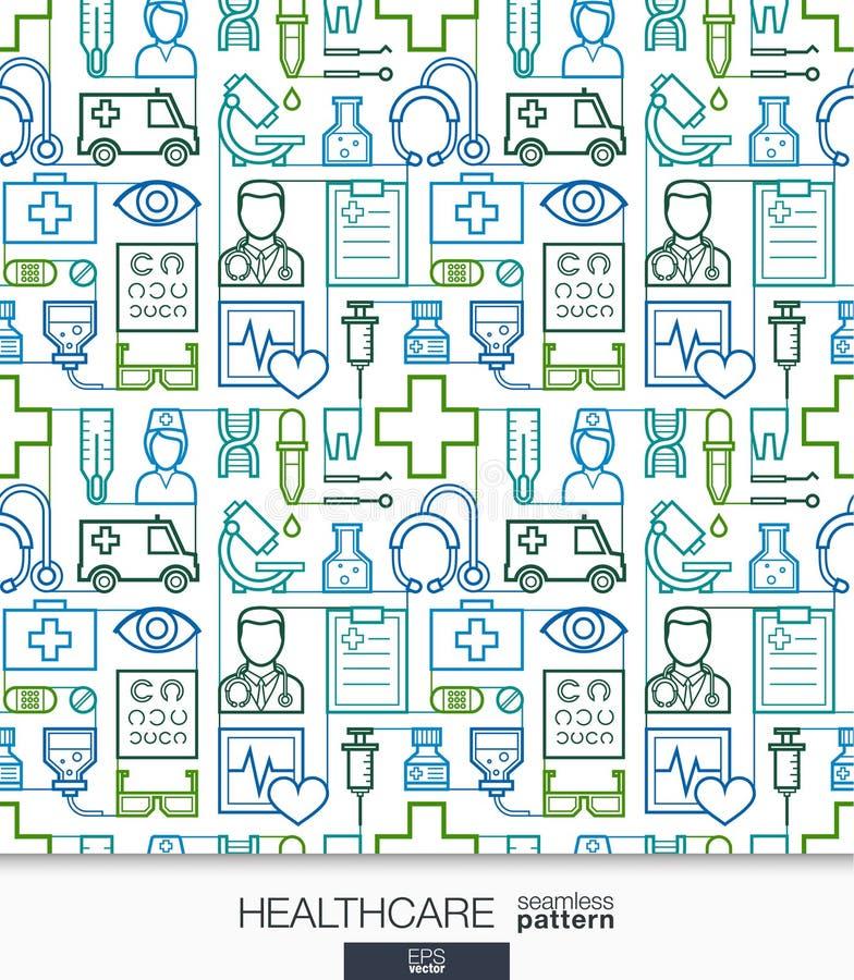 Papel de parede dos cuidados médicos Teste padrão sem emenda médico ilustração stock