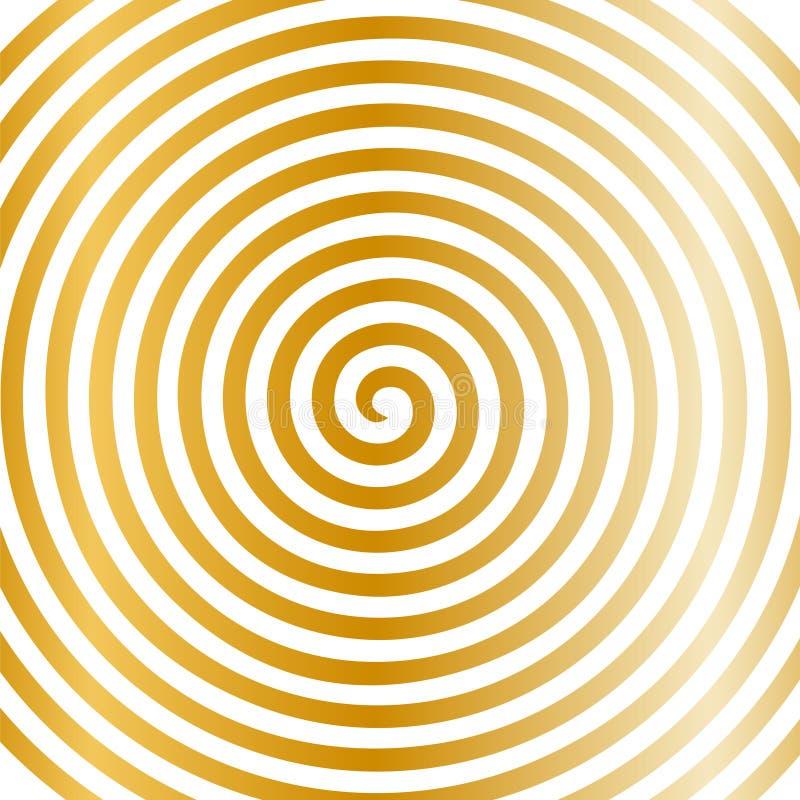 Papel de parede espiral hipnótico do redemoinho abstrato redondo do ouro branco ilustração stock
