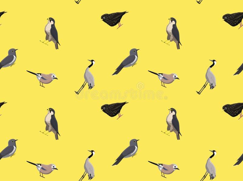 Papel de parede europeu aleatório dos pássaros ilustração stock