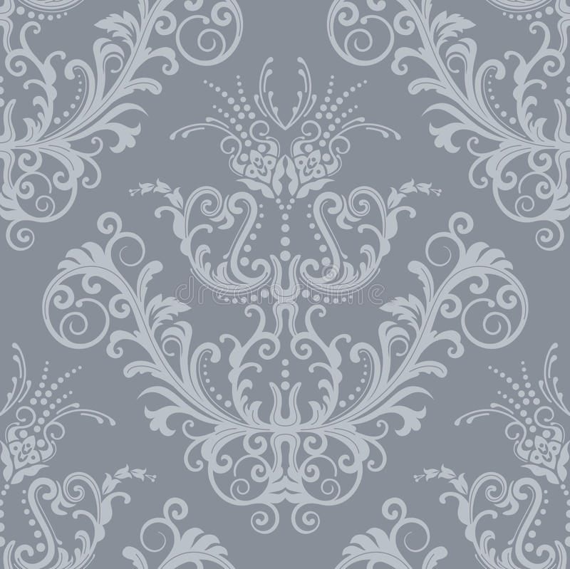 Papel de parede floral de prata luxuoso do vintage ilustração stock