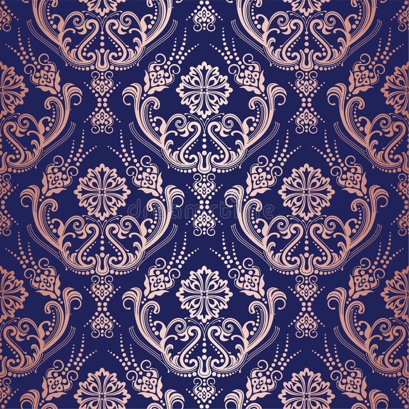 Papel de parede floral do damasco do ouro de Rosa no fundo da marinha fotos de stock
