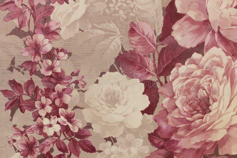 Papel de parede floral do fundo na parede imagem de stock royalty free