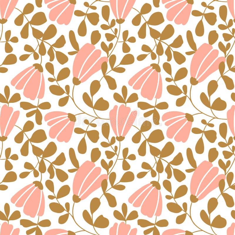 Papel de parede floral do vetor sem emenda Teste padrão decorativo do vintage no estilo clássico com flores e galhos ilustração royalty free