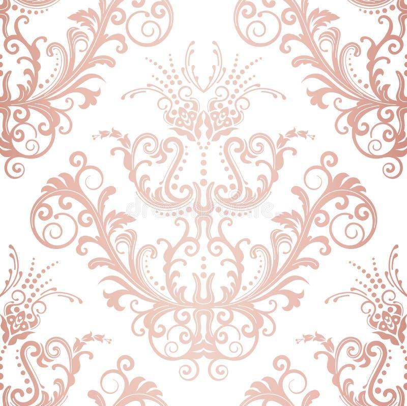 Papel de parede floral do vintage do ouro cor-de-rosa sem emenda ilustração stock