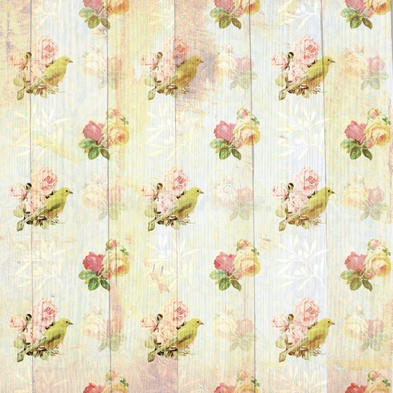 Papel de parede floral gasto do vintage ilustração stock