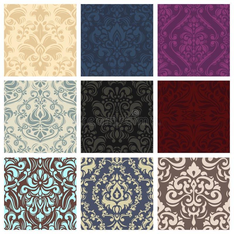 Papel de parede floral ou contexto retro sem emenda do teste padrão do vetor do vintage com textura do ornamento no victorian ou  ilustração royalty free