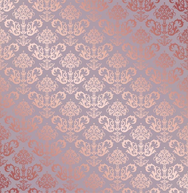 Papel de parede floral pequeno dos elementos do ouro cor-de-rosa sem emenda ilustração do vetor