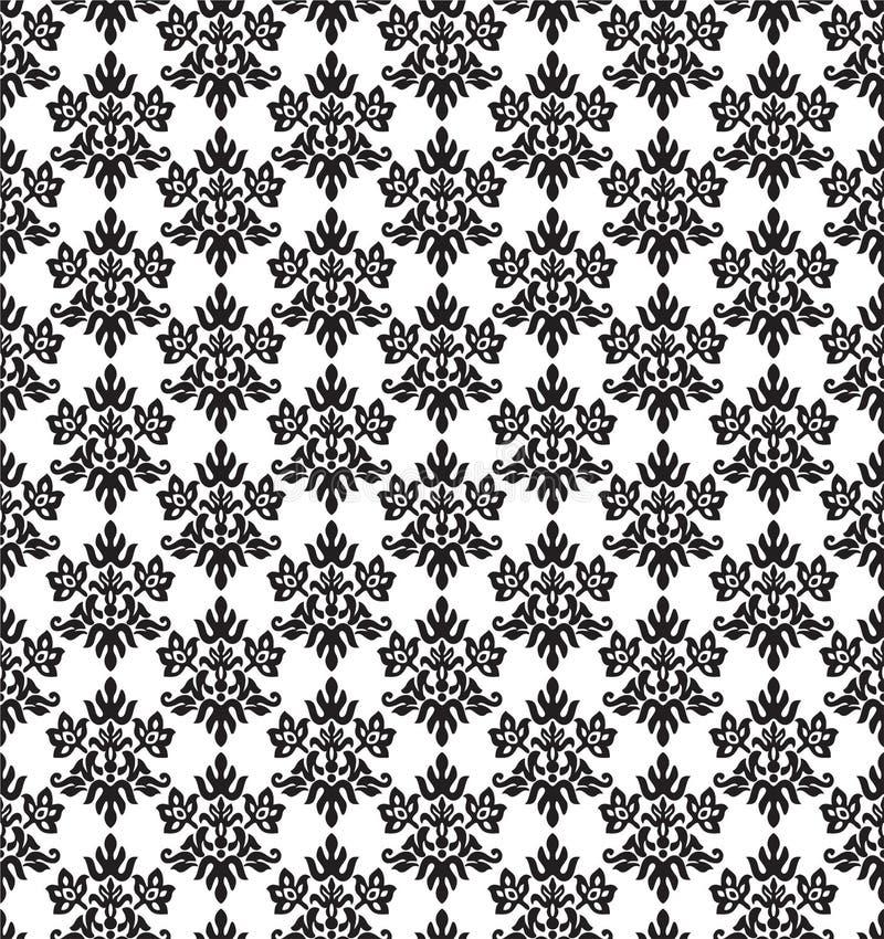 Papel de parede floral pequeno preto e branco sem emenda dos elementos ilustração royalty free