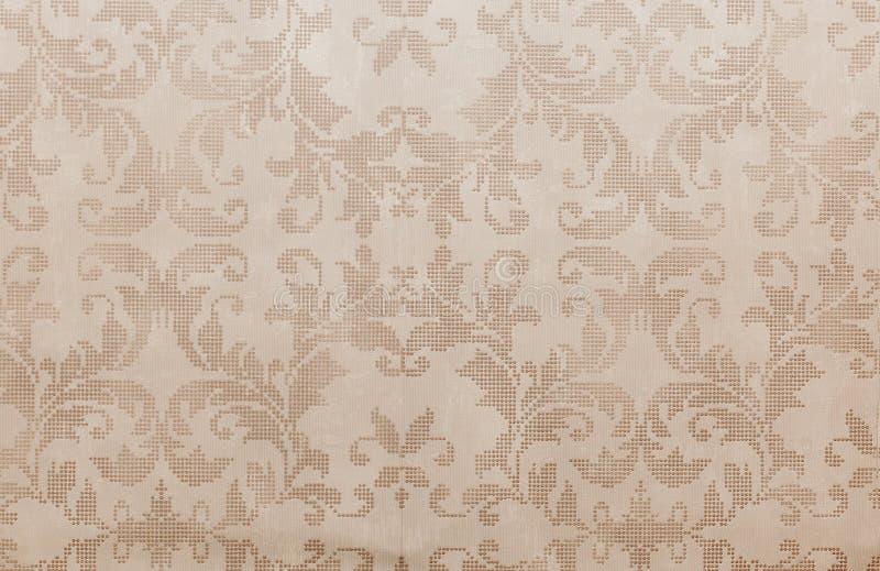 Papel de parede floral retro afligido marrom fresco imagem de stock royalty free