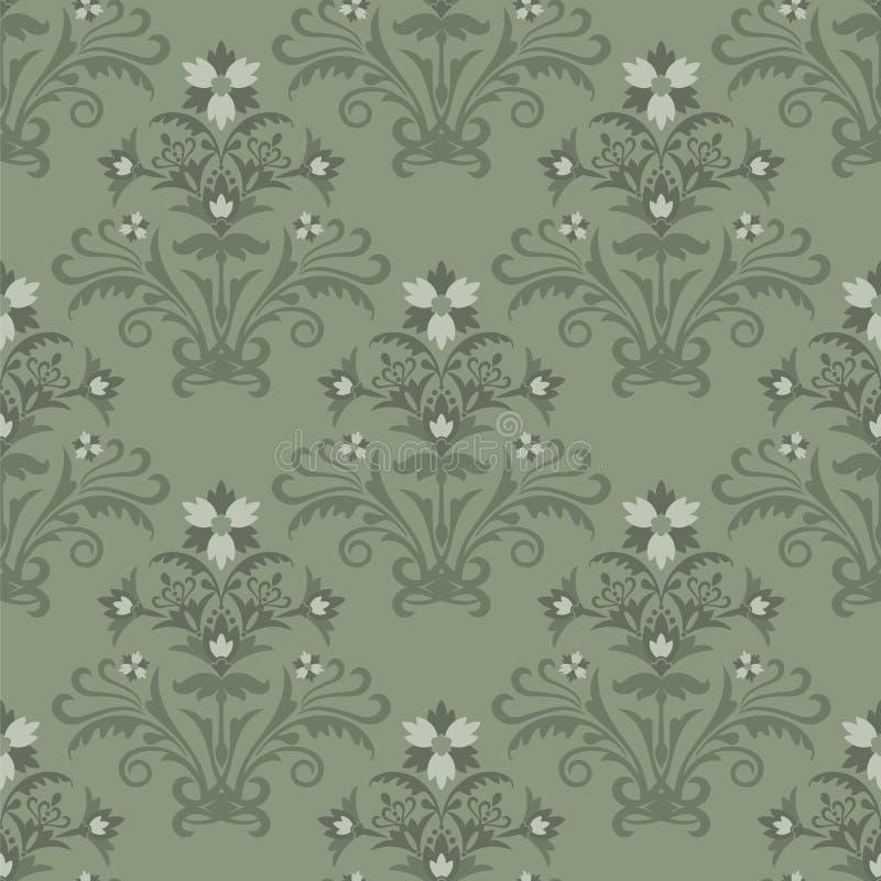 Papel de parede floral verde sem emenda ilustração do vetor