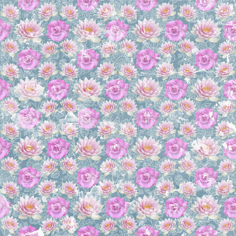 Papel de parede gasto da flor do vintage velho ilustração do vetor