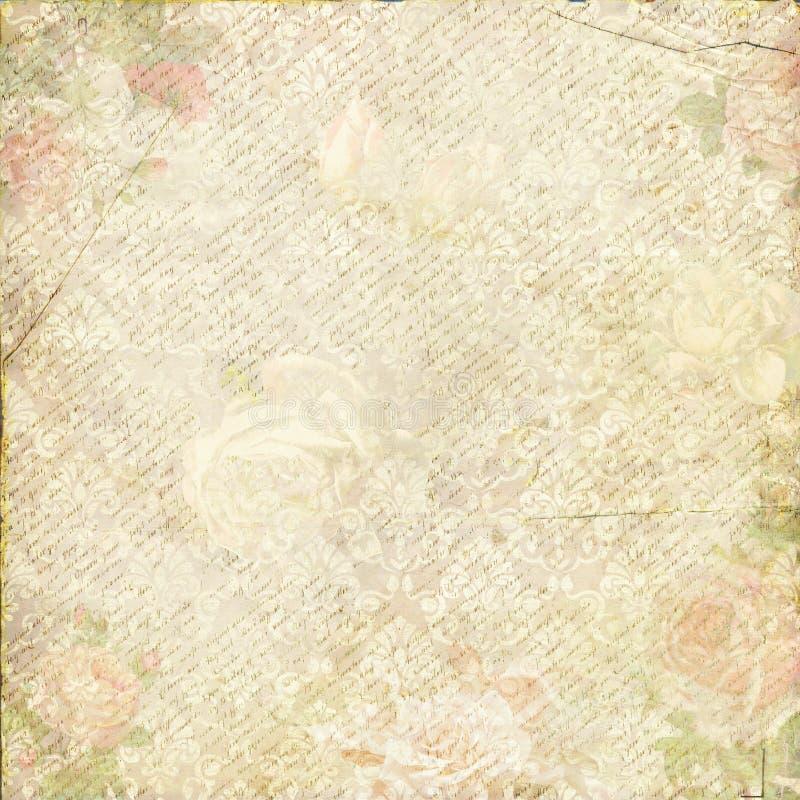 Papel de parede gasto do projeto do ornamento da flor do vintage ilustração royalty free