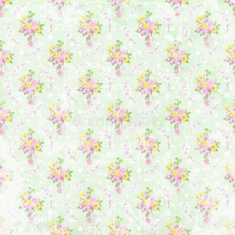 Papel de parede gasto velho da flor ilustração do vetor