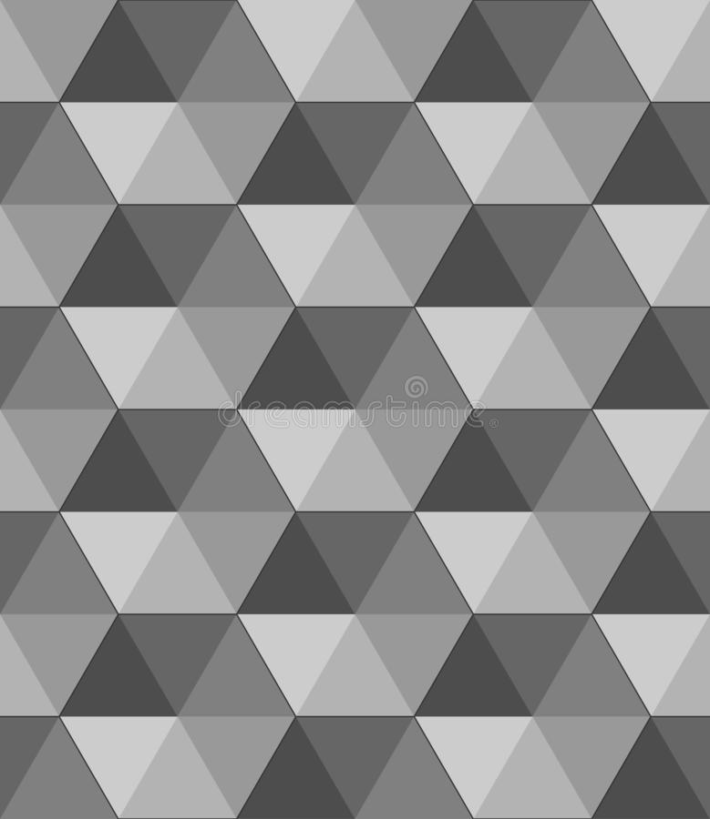 Papel de parede geométrico preto e branco do vetor do sumário fundo do teste padrão do cubo ilustração stock