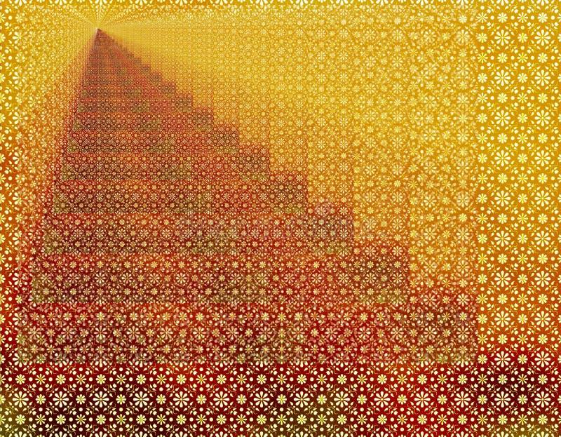 Papel de parede geométrico vermelho do fundo da infinidade do ouro ilustração royalty free