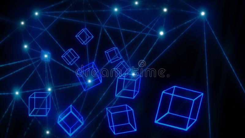 Papel de parede de incandescência azul da tecnologia do blockchain dos blocos fotos de stock
