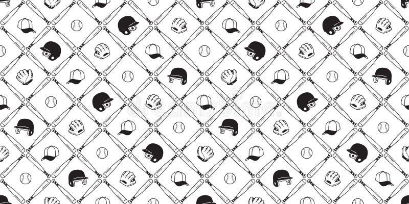 Papel de parede isolado da repetição do fundo da telha do capacete da luva do esporte da bola do vetor do teste padrão do base ilustração royalty free