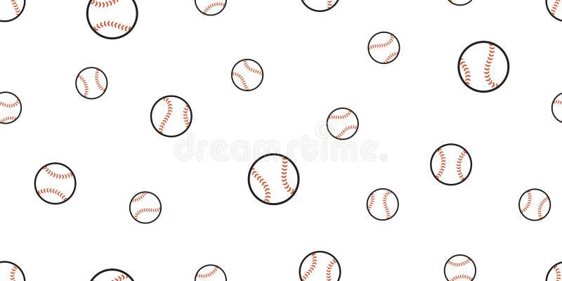 Papel de parede isolado da repetição do fundo da telha do esporte da bola do solf do tênis do vetor do teste padrão do basebo ilustração do vetor