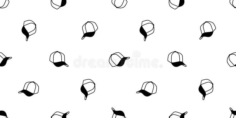 Papel de parede isolado da repetição do fundo da telha do esporte do boné de beisebol do chapéu do vetor do teste padrão do  ilustração do vetor