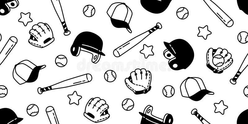 Papel de parede isolado da repetição do fundo da telha da estrela do capacete da luva do esporte da bola do vetor do teste padr ilustração do vetor