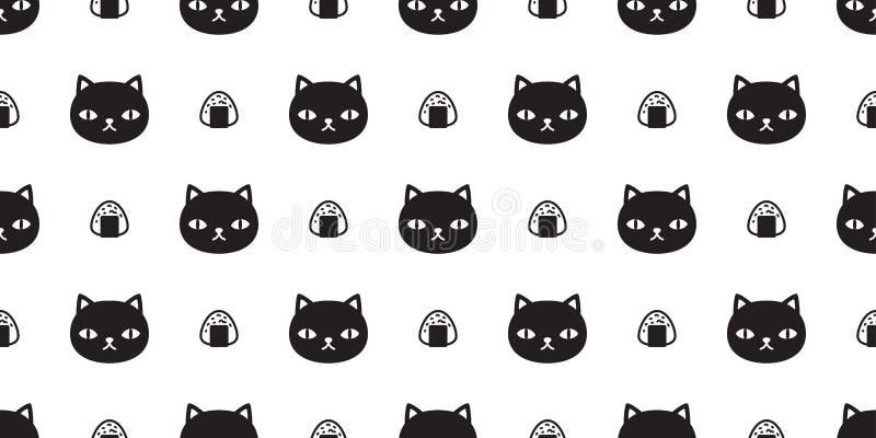 Papel de parede isolado do fundo da telha do Dia das Bruxas do alimento da chita do gatinho do sushi do vetor do teste padrão de  ilustração royalty free