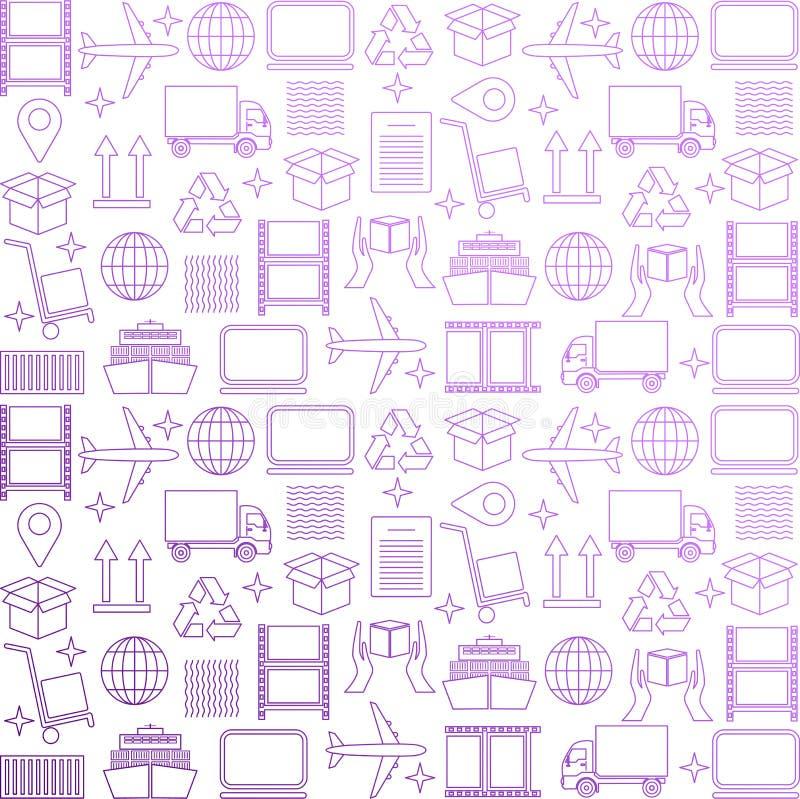 Papel de parede logístico do negócio Teste padrão da entrega e da distribuição Teste padrão global da logística no roxo Illustr d ilustração royalty free