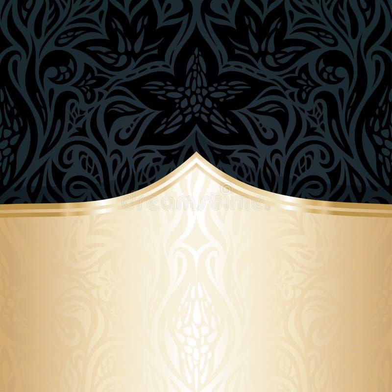 Papel de parede luxuoso floral preto decorativo do convite com espaço da cópia do ouro ilustração royalty free