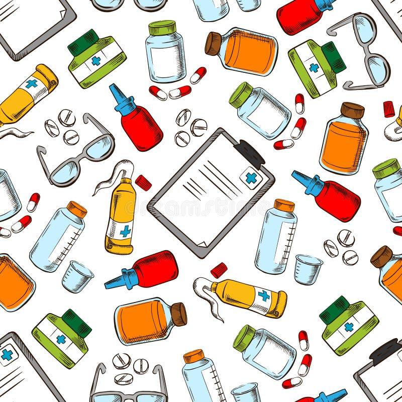 Papel de parede médico Fundo do teste padrão de Seamles ilustração stock