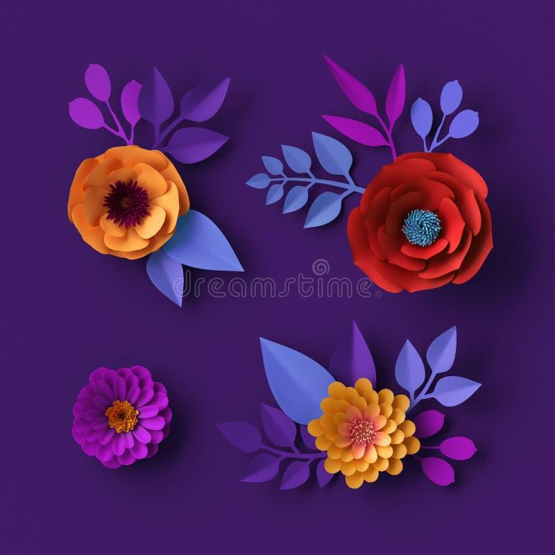 papel de parede de néon colorido das flores 3d de papel, fundo botânico, papoila vermelha, dália cor-de-rosa, clipart do verão da fotos de stock