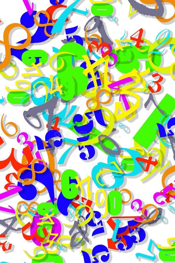 Papel de parede numérico colorido ilustração do vetor