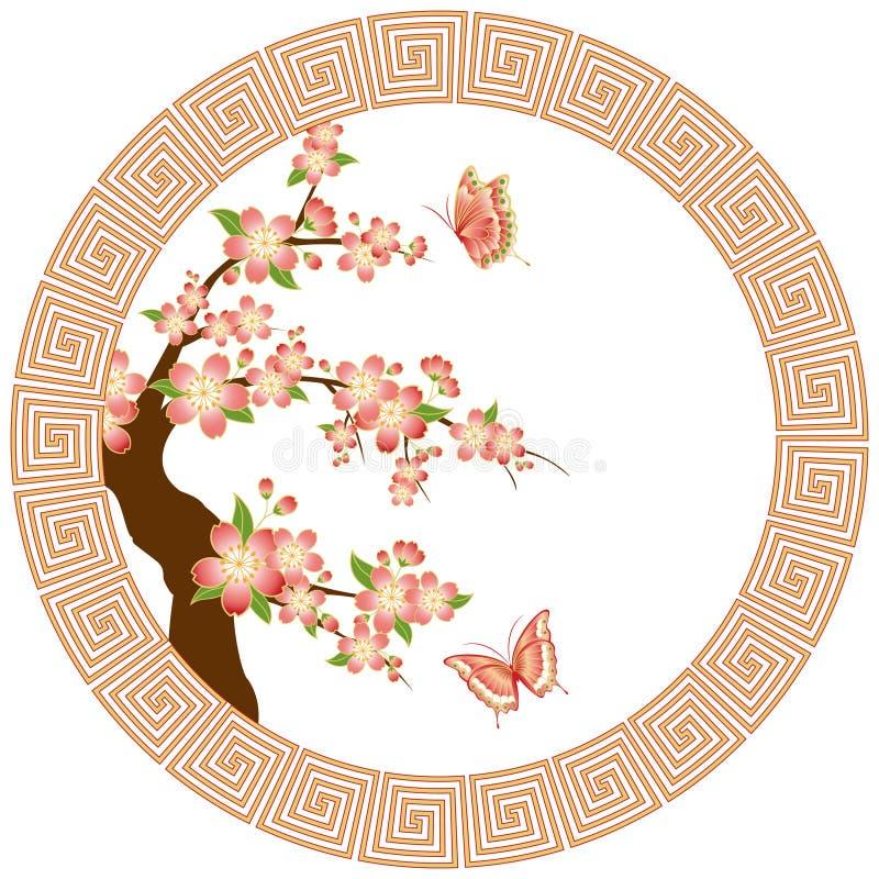 Papel de parede oriental da flor de cereja ilustração royalty free